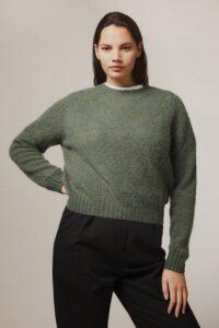 Leslie Brushed Wool Sweater Jade Green - British Made