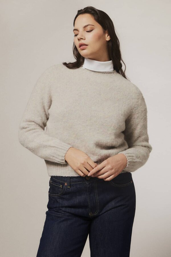 Leslie Brushed Wool Sweater Pearl - British Made