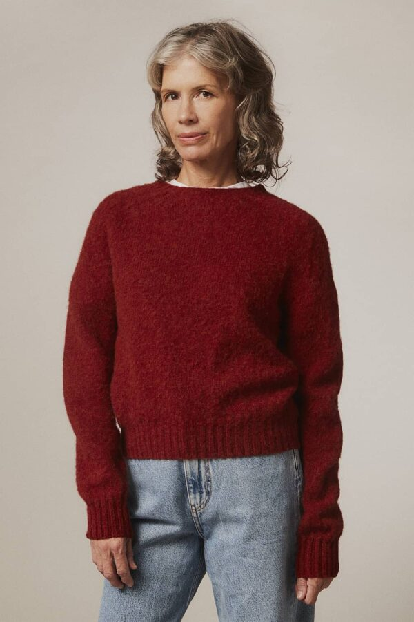 Leslie Brushed Wool Sweater Red - British Made