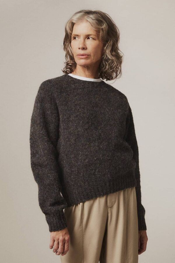 Leslie Brushed Wool Sweater Smoulder Charcoal - British Made 3