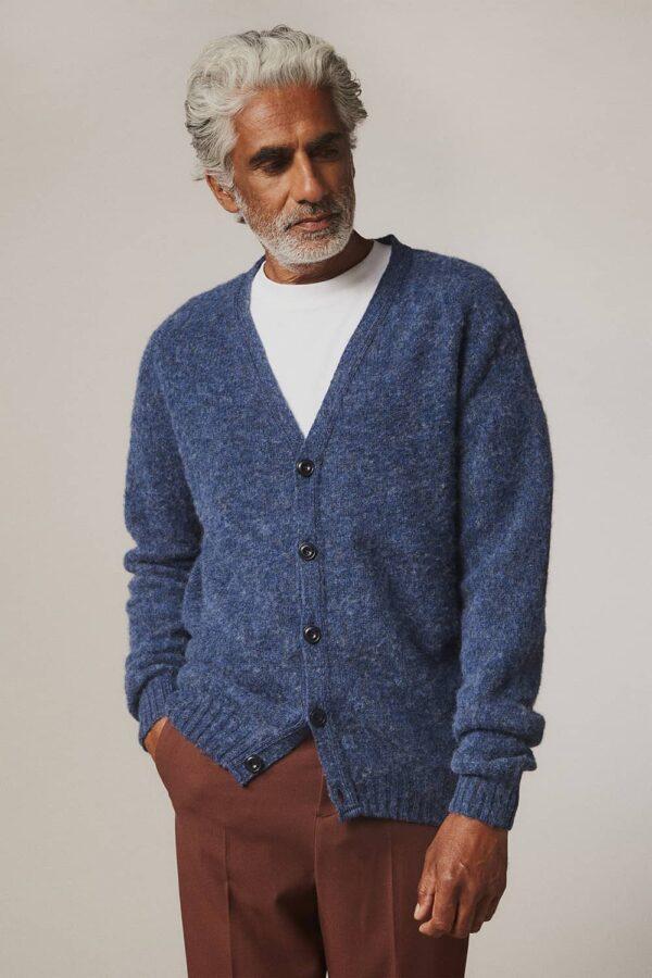 Leven Cardigan Brushed Wool Denim Blue - British Made
