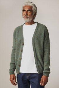 Leven Cardigan Brushed Wool Jade - British Made