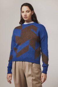 Leyden Geometric Lambswool Sweater Blue - British Made