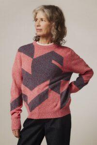 Leyden Geometric Lambswool Sweater Pink - British Made