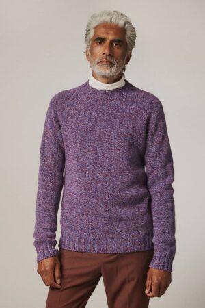 Liddel Chunky Lambswool Sweater Marl Blue - British Made