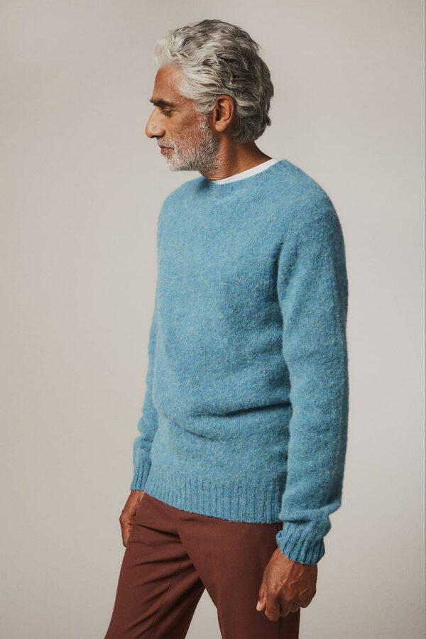 Lunan Brushed Wool Sweater Azure Blue - British Made 3