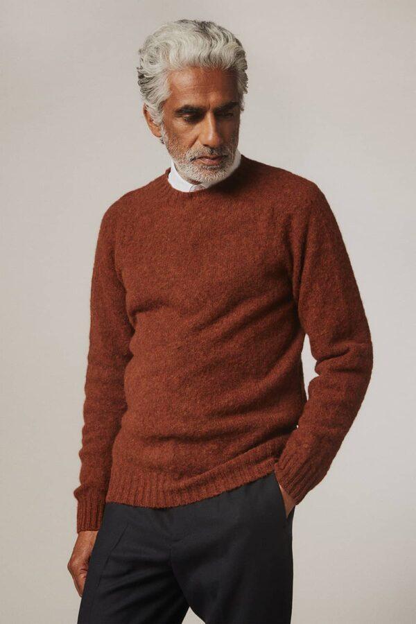 Lunan Brushed Wool Sweater Rust - British Made
