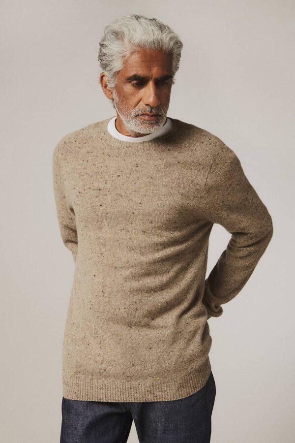 Mauden Lambswool Cashmere Sweater Beige - British Made 3