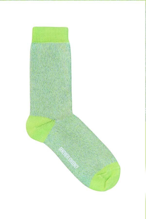 Samar Cotton Marl Sock Lime - British Made 2