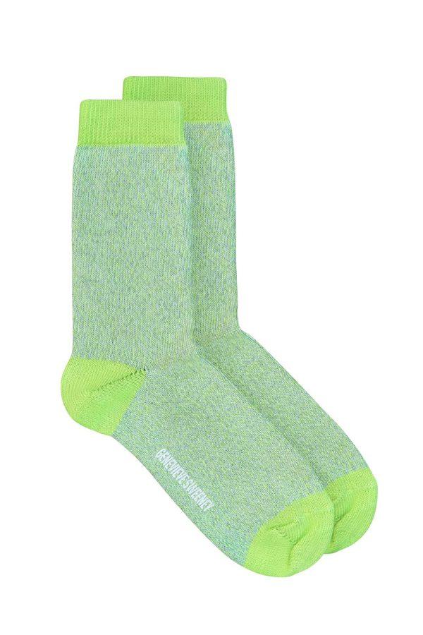 Samar Cotton Marl Sock Lime - British Made