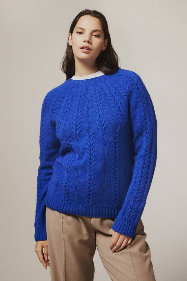 Wroxton Cable Lambswool Sweater Bright Blue - British Made