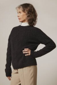 Wroxton Cable Lambswool Sweater Charcoal - British Made