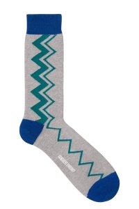 Sigi Cotton Zig Zag Grey Socks Blue - British Made