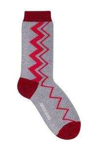 Sigi Cotton Zig Zag Grey Melange Socks - British Made