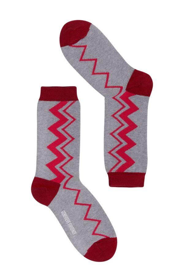 Sigi Cotton Zig Zag Grey Melange Socks - British Made 2