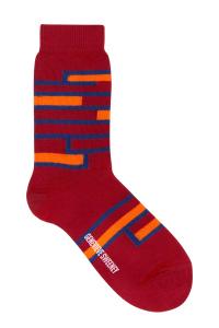 Sette Cotton Stripe Socks Red - British Made