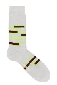 Sette Cotton Stripe Socks Putty White - British Made