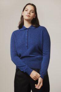 Fidra Collar Knit Lambswool Sweater Blue - British Made
