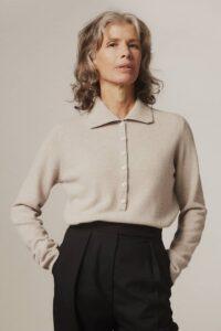 Fidra Collar Knit Lambswool Sweater Putty - British Made
