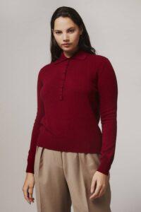Fidra Collar Knit Lambswool Sweater Red - British Made