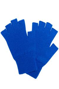 Fingerless Lambswool Gloves Bright Blue - British Made