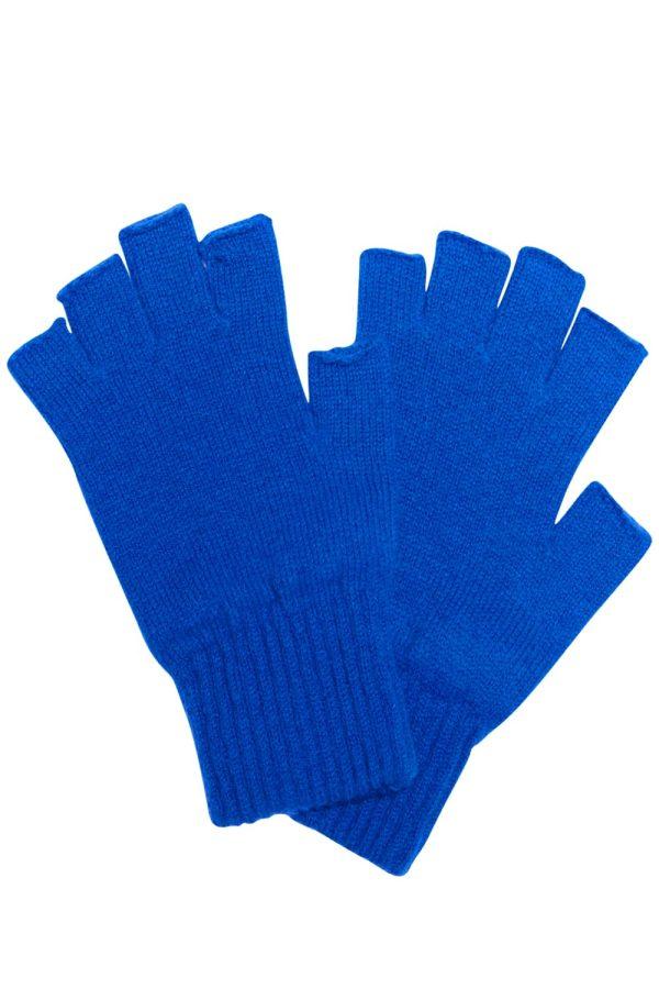 Fingerless Lambswool Gloves Bright Blue - British Made 3