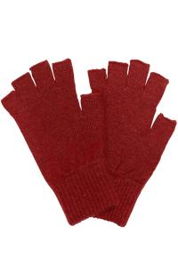 Fingerless Lambswool Gloves Rusty Red - British Made