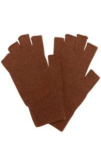 Luxury unisex fingerless lambswool gloves in hazelnut british made
