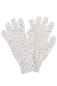 Moss Stitch Lambswool Gloves White Tweed - British Made