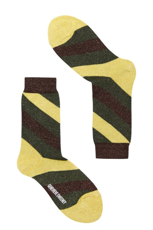 Luxury women's sparkly yellow and green striped socks - British Made