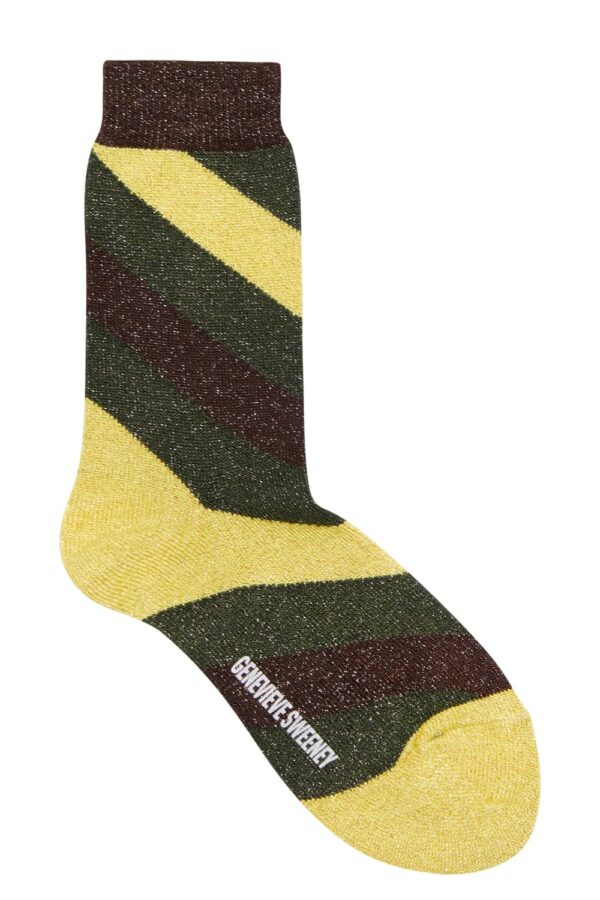 Luxury women's sparkly pink and yellow striped socks - British Made
