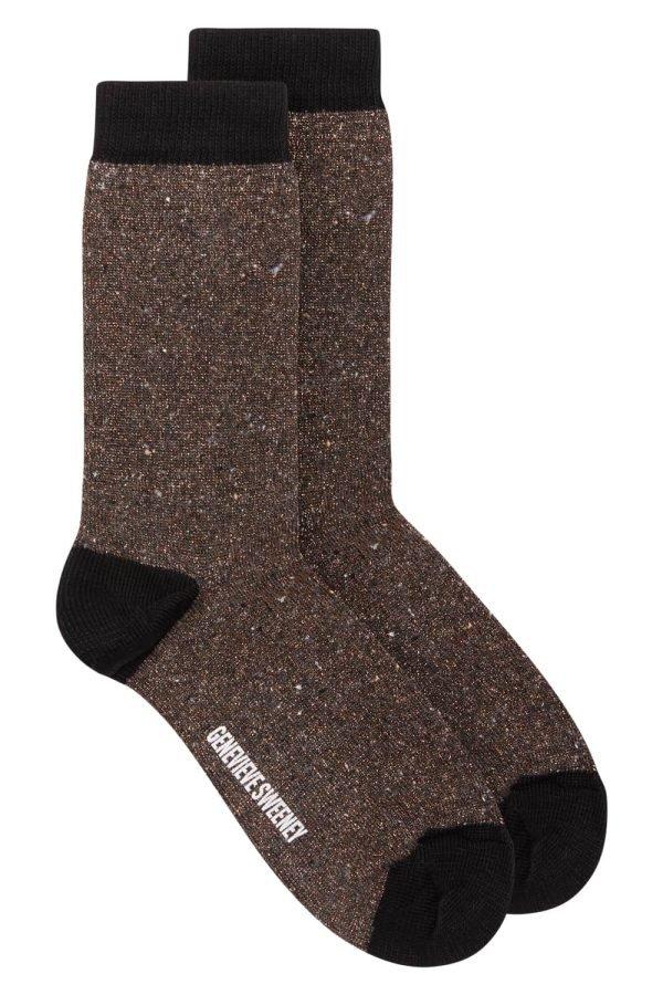 Solline Sparkly Sock Silk Tweed Copper - British Made