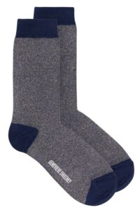 Solline Sparkly Sock Silk Tweed Denim Blue - British Made
