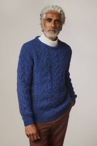 Wilton Chunky Cable Lambswool Sweater Blue - British Made