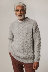 Wilton Chunky Cable Lambswool Sweater Grey - British Made