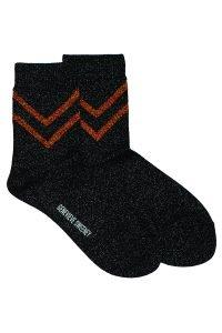 Selina Sparkly Stripe Sock Black - British Made